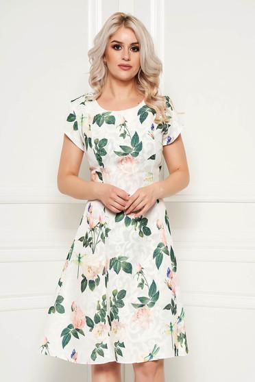 Rochie alba de zi midi in clos din bumbac cu imprimeu floral