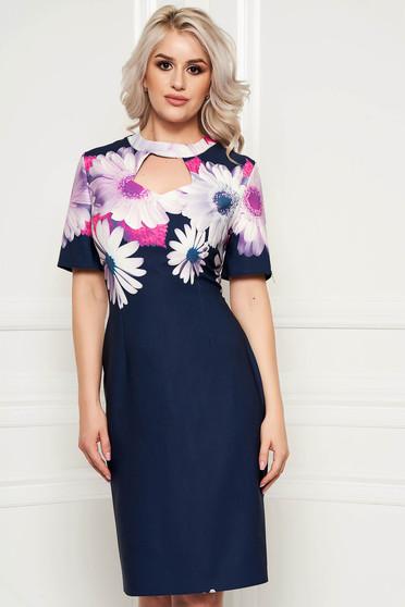 Rochie albastru-inchis office midi cu maneci scurte cu imprimeu floral