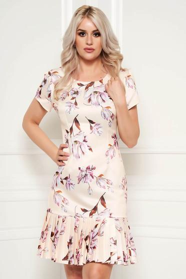 Rochie crem eleganta de zi cu croi in a cu maneci scurte din material neelastic cu imprimeu floral