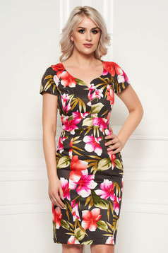 Rochie khaki eleganta de zi cu un croi mulat cu imprimeuri florale