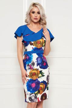 Rochie albastra eleganta tip creion din material elastic cu imprimeuri florale si volanase pe linia decolteului