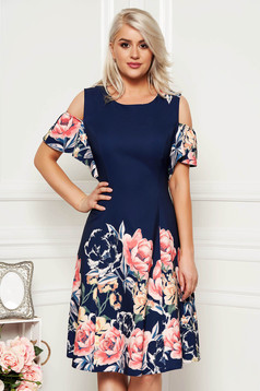 Darkblue dress cloche midi with floral print both shoulders cut out neckline daily