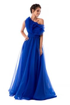 Rochie Ana Radu albastra de lux pe umar captusita pe interior din tul cu volanase