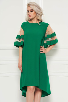 Rochie verde eleganta asimetrica cu croi larg din material subtire