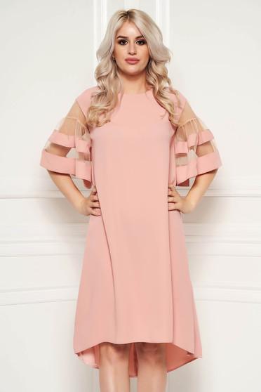 Rochie roz prafuit eleganta asimetrica cu croi larg din material subtire