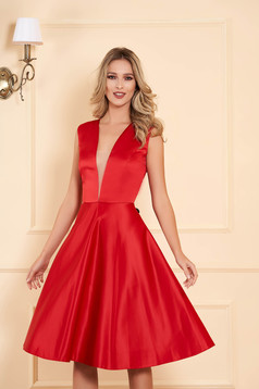Red occasional asymmetrical cloche dress with deep cleavage from satin