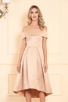 Cream occasional asymmetrical cloche dress off shoulder from satin