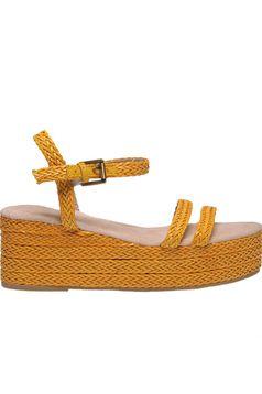 Pantofi Top Secret galben casual din material impletit din piele ecologica