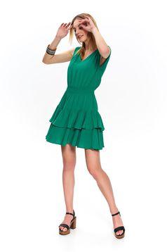 Rochie Top Secret verde de zi scurta in clos cu elastic in talie cu volanase din material vaporos