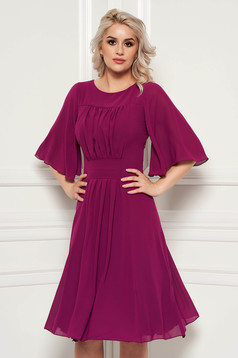 Purple occasional cloche dress from veil fabric with inside lining
