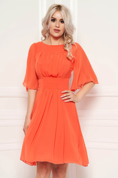 Rochie portocalie de zi in clos din voal captusita pe interior din material vaporos