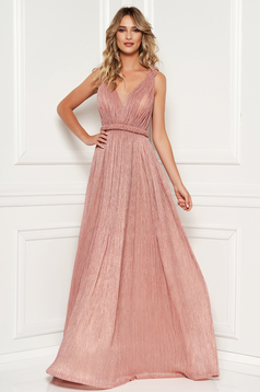 Lightpink occasional cloche dress with push-up cups with v-neckline with crystal embellished details