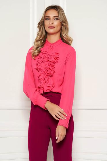 Bluza dama StarShinerS fuchsia office cu volanase din material vaporos si transparent si guler inalt