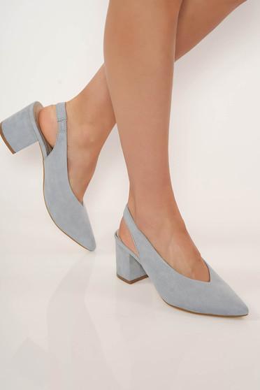 Pantofi Top Secret albastri office cu toc gros si varful usor ascutit