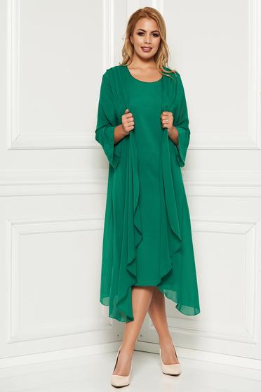 Rochie verde eleganta midi din material fin la atingere fara maneci capa detasabila