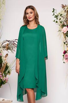 Rochie verde eleganta midi din material fin la atingere fara maneci cu capa detasabila