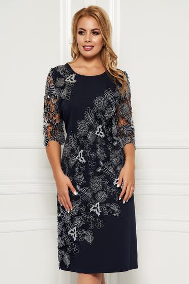 Rochie albastru-inchis eleganta midi cu un croi drept din stofa neelastica subtire cu maneci din dantela