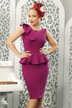 Fuchsia elegant pencil dress frilled slightly elastic fabric
