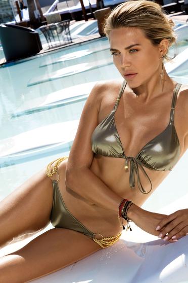 Costum de baie maro de lux din doua piese culoare metalizata bikini neajustabili insertii metalice aurii