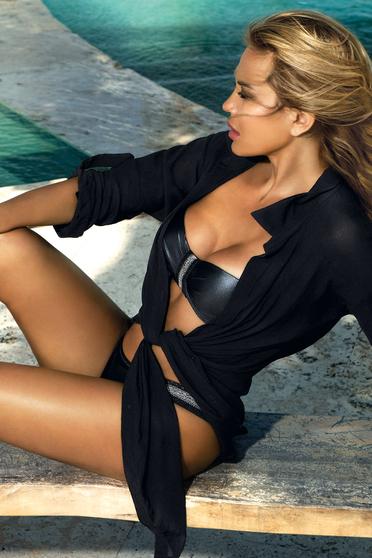 Rochie neagra de plaja din material transparent fir stralucitor cu croi larg