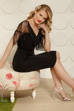 Rochie PrettyGirl neagra de ocazie din stofa tip creion cu decolteu in v tip corset umeri din plasa cu aplicatii cu paiete
