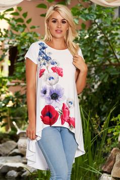 Bluza dama StarShinerS alba casual asimetrica cu croi larg cu maneci scurte si imprimeu floral customizat