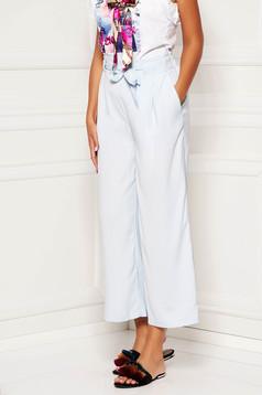 Pantaloni SunShine albastru deschis eleganti din material vaporos cu talie inalta si buzunare accesorizati cu cordon