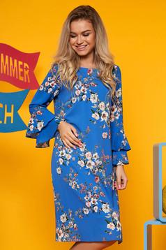 Rochie SunShine albastra eleganta cu un croi drept midi si maneci clopot