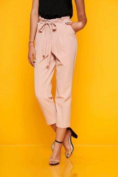Pantaloni SunShine roz prafuit eleganti din stofa cu talie inalta cordon detasabil cu buzunare
