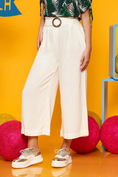Ivory trousers casual high waisted straight linen detachable cord