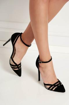 Pantofi negri eleganti din piele naturala cu barete subtiri si toc inalt