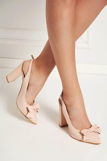 Pantofi roz prafuit eleganti din piele naturala cu varful usor ascutit accesorizat cu o fundita