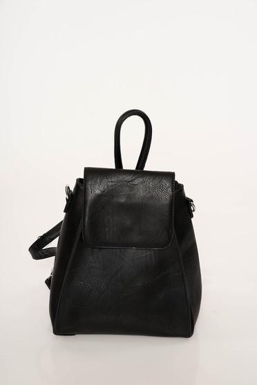 Rucsac negru casual din piele ecologica cu bretele ajustabile