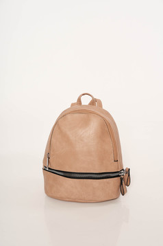 Brown backpacks casual from ecological leather zipper accessory