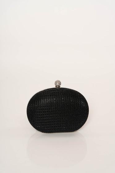 Geanta dama neagra eleganta de ocazie cu maner lung tip lantisor cu aplicatii cu sclipici fir stralucitor