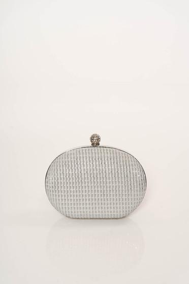 Geanta dama argintie eleganta de ocazie cu maner lung tip lantisor cu aplicatii cu sclipici fir stralucitor