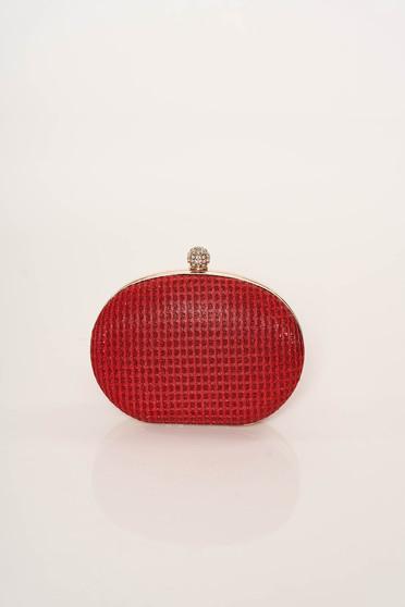 Geanta dama rosie eleganta de ocazie cu maner lung tip lantisor cu aplicatii cu sclipici fir stralucitor