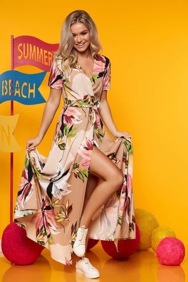 Rochie SunShine cappuccino maxi cu imprimeu floral decolteu petrecut din satin