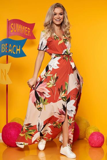 Rochie SunShine portocalie maxi cu imprimeu floral decolteu petrecut din satin