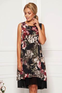 Khaki dress casual flared airy fabric with inside lining sleeveless