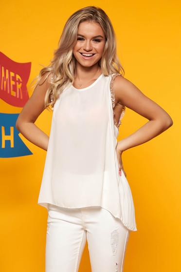 Top SunShine alb elegant cu croi larg din voal fara maneci cu aplicatii cu paiete