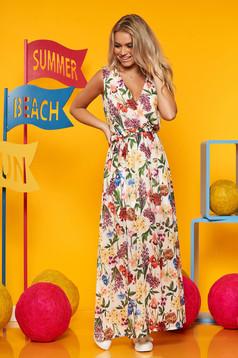 Rochie SunShine alba casual lunga in clos fara maneci cu imprimeu floral si decolteu in v
