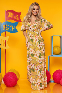 Rochie SunShine mustarie de zi din voal cu elastic in talie cu maneci tip fluture