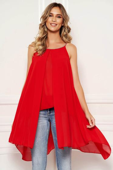 Bluza dama SunShine rosie scurta de zi din voal suprapunere cu voal fara maneci