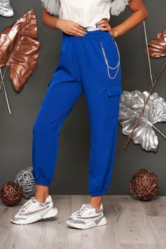 Pantaloni SunShine albastri casual cu talie inalta buzunare laterale si accesoriu inclus