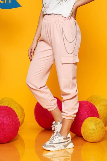 Pantaloni SunShine roz deschis casual 3/4 cu talie inalta buzunare laterale cu accesoriu inclus