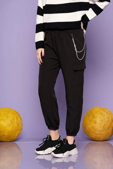 Pantaloni SunShine negri casual cu talie inalta buzunare laterale si accesoriu inclus