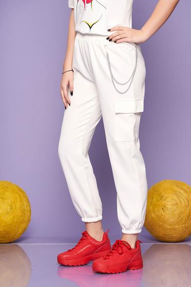 Pantaloni SunShine ivoire casual cu talie inalta buzunare laterale si accesoriu inclus