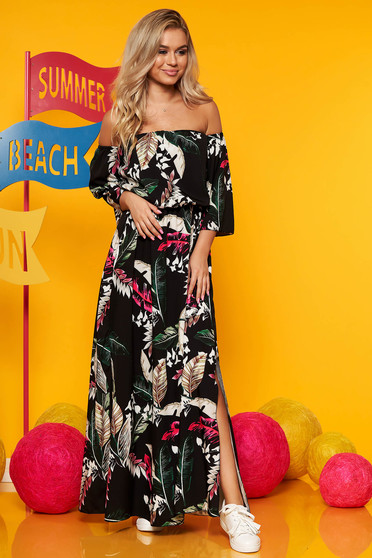 Rochie SunShine neagra rochii maxi de zi in clos cu elastic in talie maneci largi cu imprimeu floral