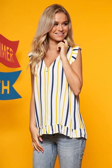 Top SunShine galben casual scurt cu croi larg cu decolteu in v si dungi
